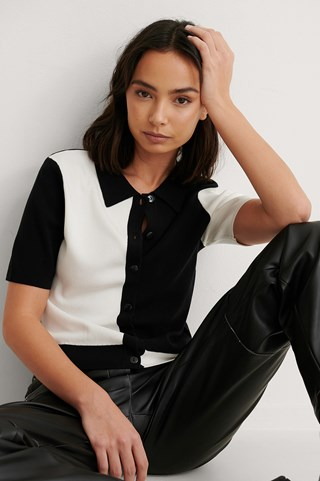 Black/White Color Blocked Knitted Top