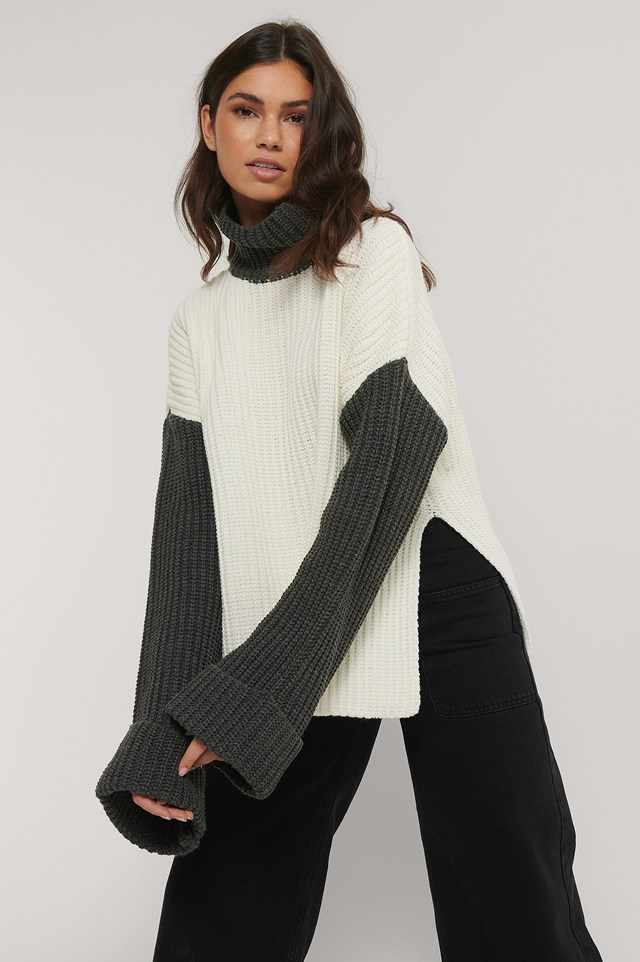 Color Blocked Oversized Knitted Sweater White/Grey