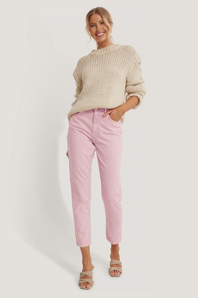 Colored Denim Mom Jeans Pink