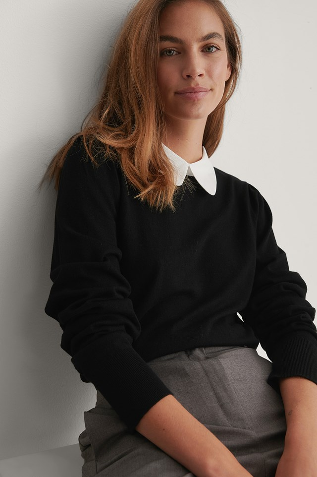 Black Contrast Collar Knitted Sweater