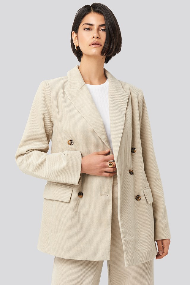 Corduroy Double Breasted Blazer Sand
