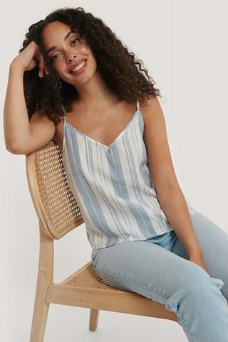 Blue/White Stripe Cotton Striped Singlet