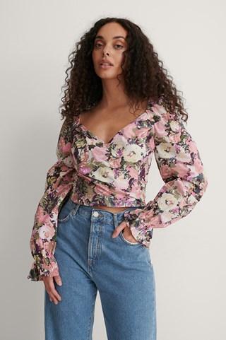 Flower Print Cotton Blouse