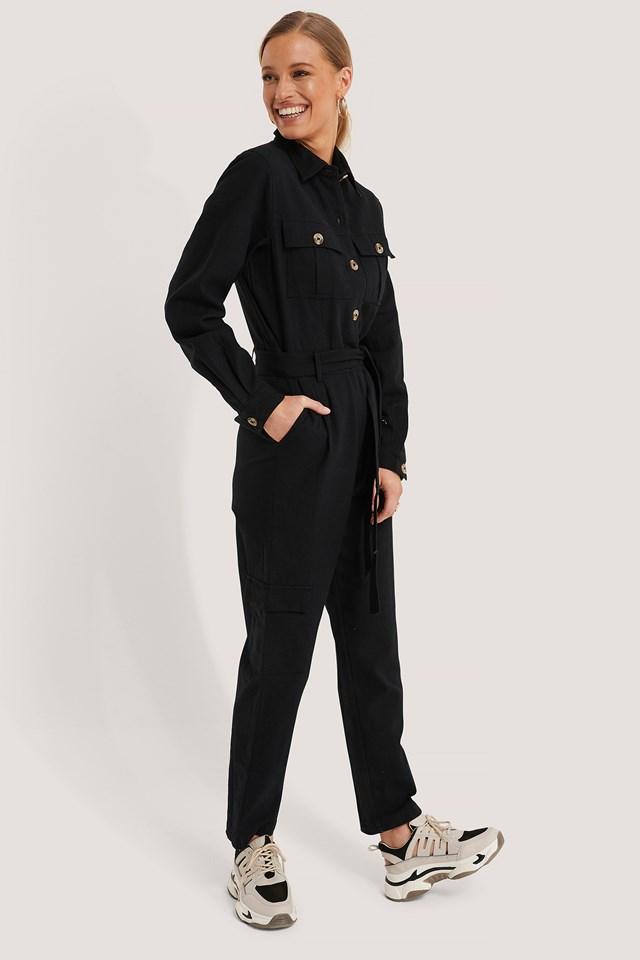 Cotton Canvas Jumpsuit Black