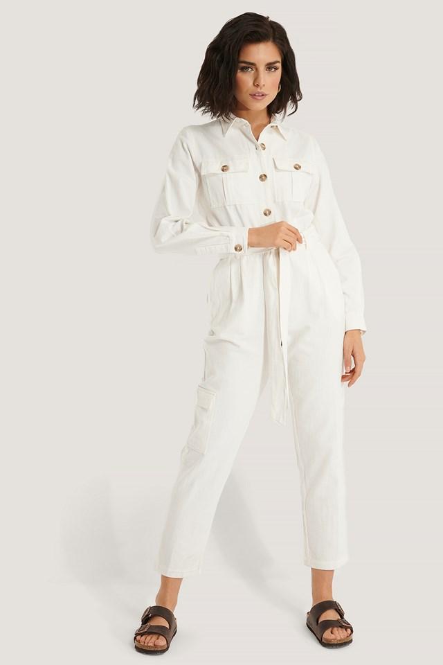 Cotton Canvas Jumpsuit Ecru