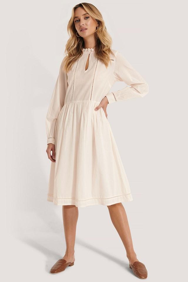 Cotton Frill A-Line Dress White