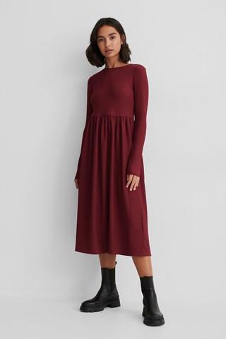 Burgundy Crepe Hem Midi Dress