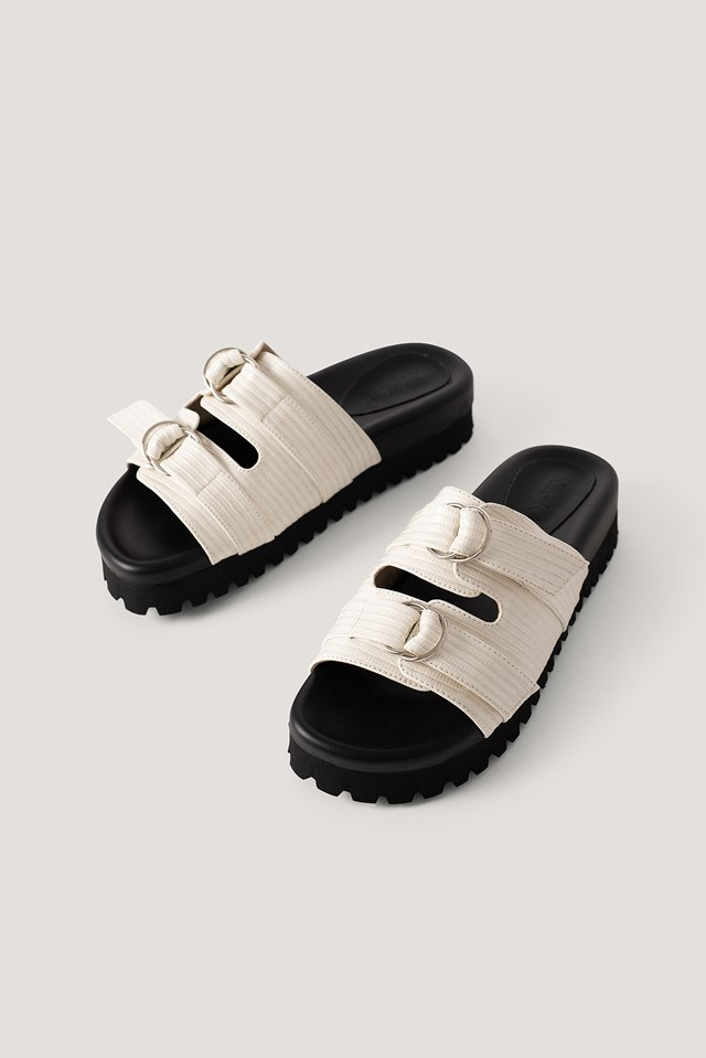 Double Buckle Sandals Offwhite