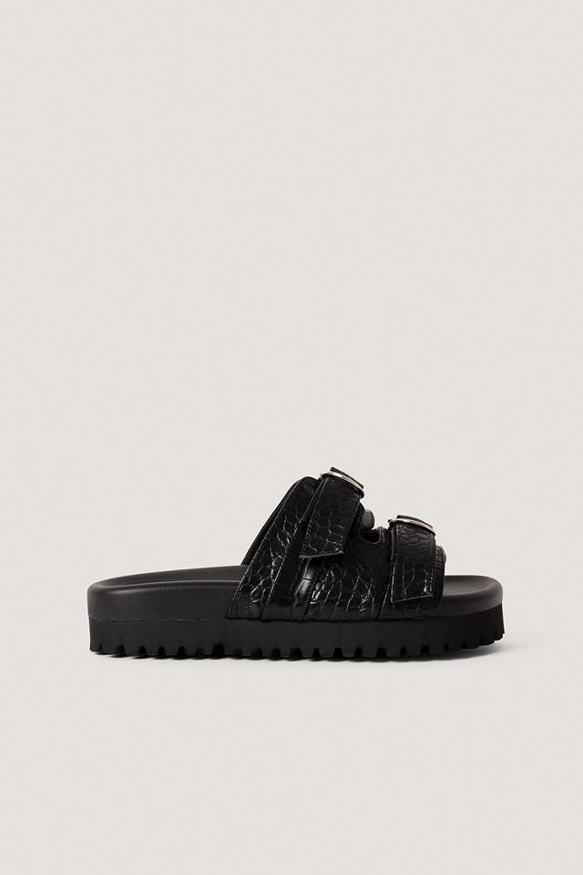 Double Buckle Sandals Black Croco