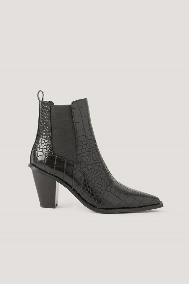 Croc Pointy Block Heel Boots NA-KD Shoes