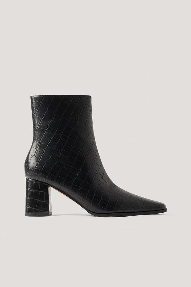 Croc Slim Squared Toe Boots Black