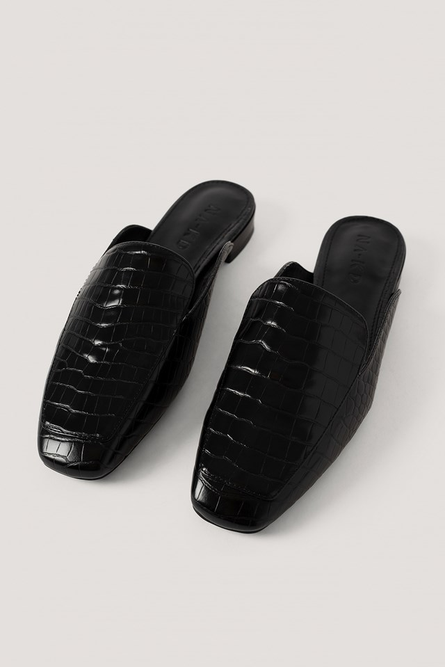 Black Croc Slip In Loafers