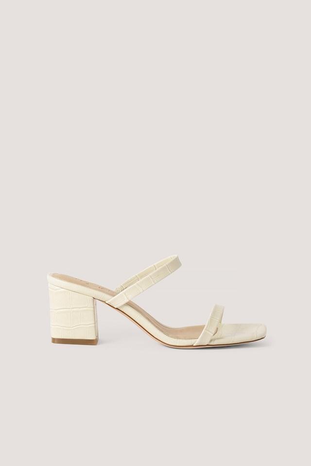 Croc Squared Strap Sandals Offwhite