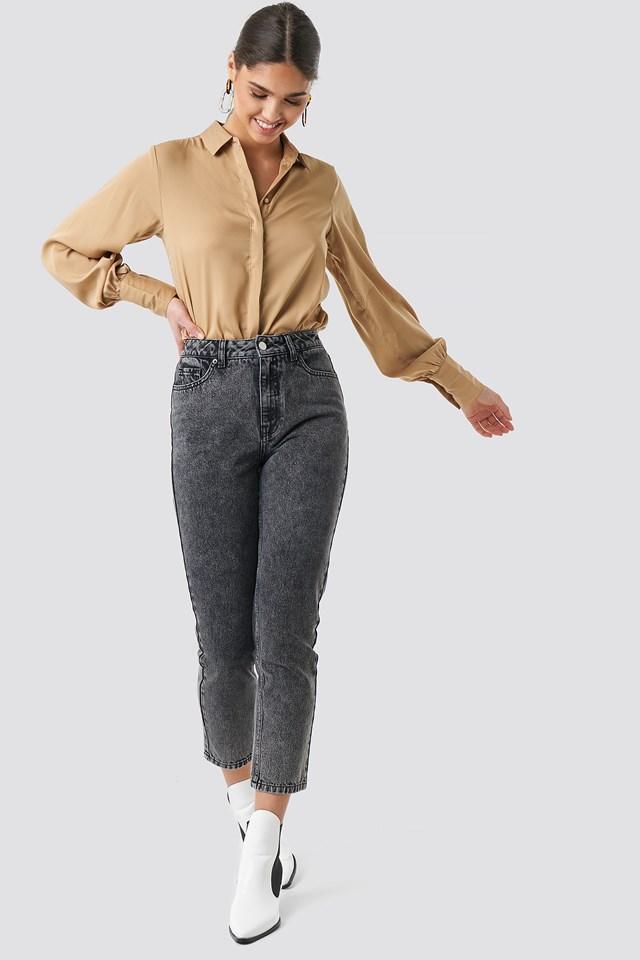 Cropped 5 Pocket Jeans Black Stone Wash