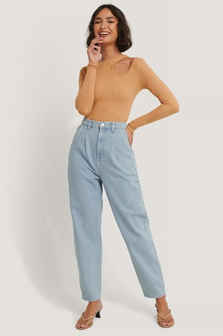 Light Blue Recycled Cropped Balloon Leg Jeans