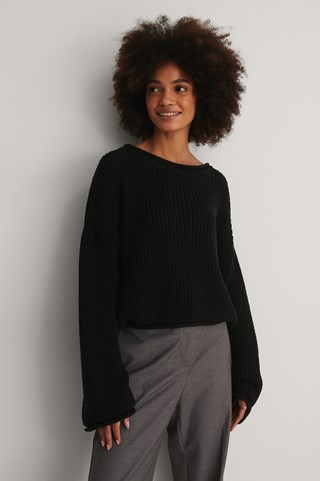 Black Cropped Boat Neck Knitted Sweater