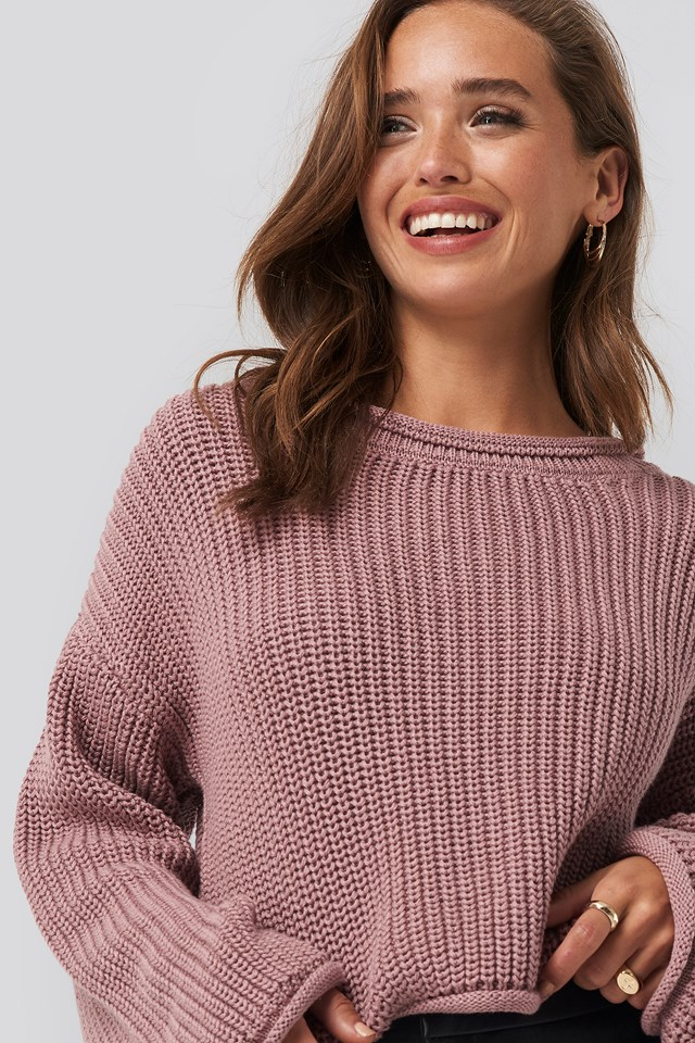 Cropped Boat Neck Knitted Sweater NA-KD