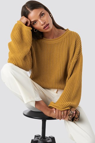 Mustard Cropped Boat Neck Knitted Sweater