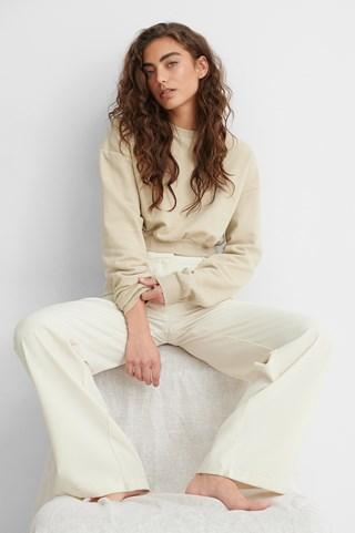 Beige Organic Cropped Brushed Sweatshirt