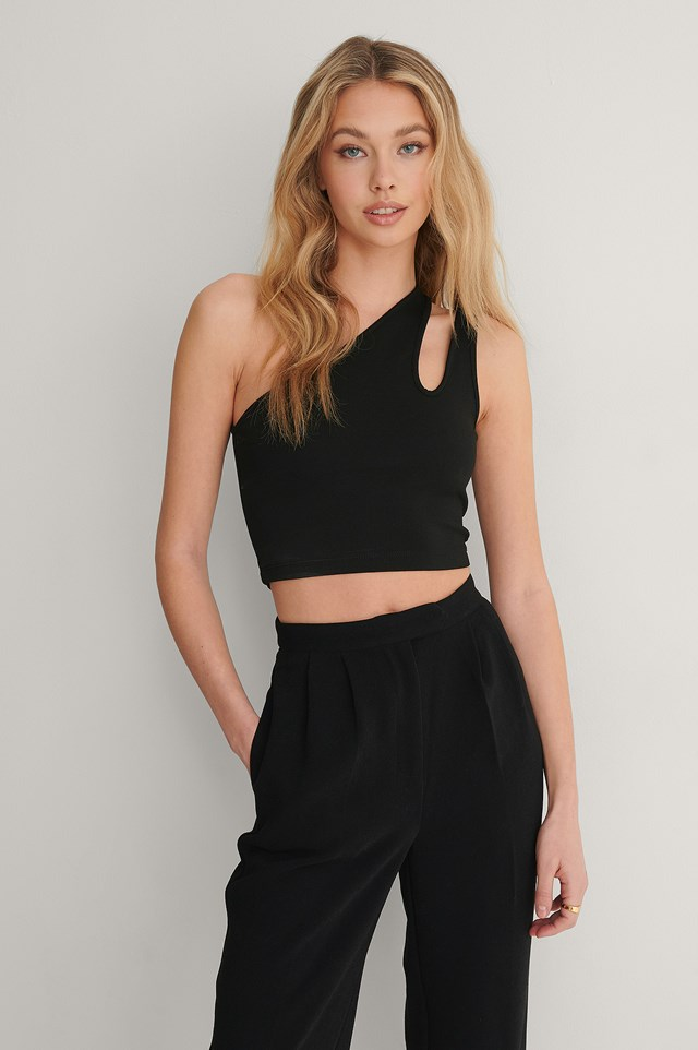 Black Cropped Cut Out Top