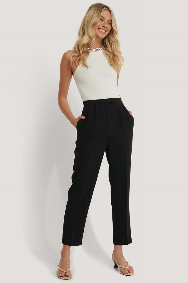 Cropped Darted Suit Pants Black