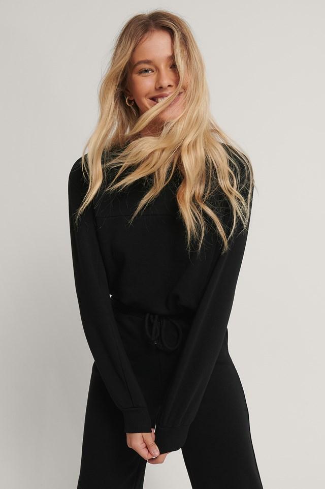 Cropped Drawstring Sweatshirt Black