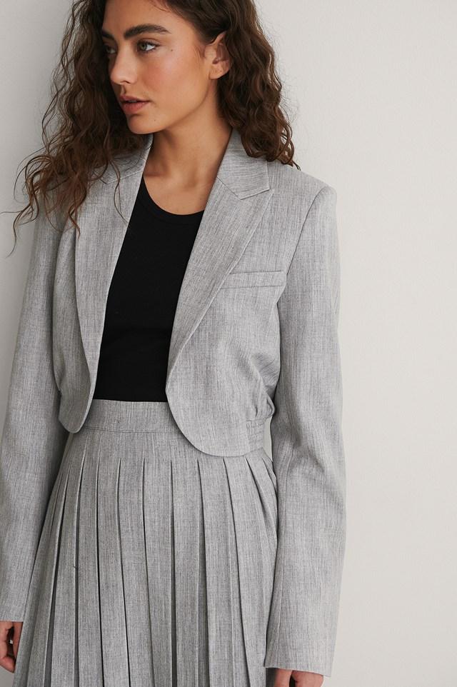 Grey Cropped Elastic Blazer