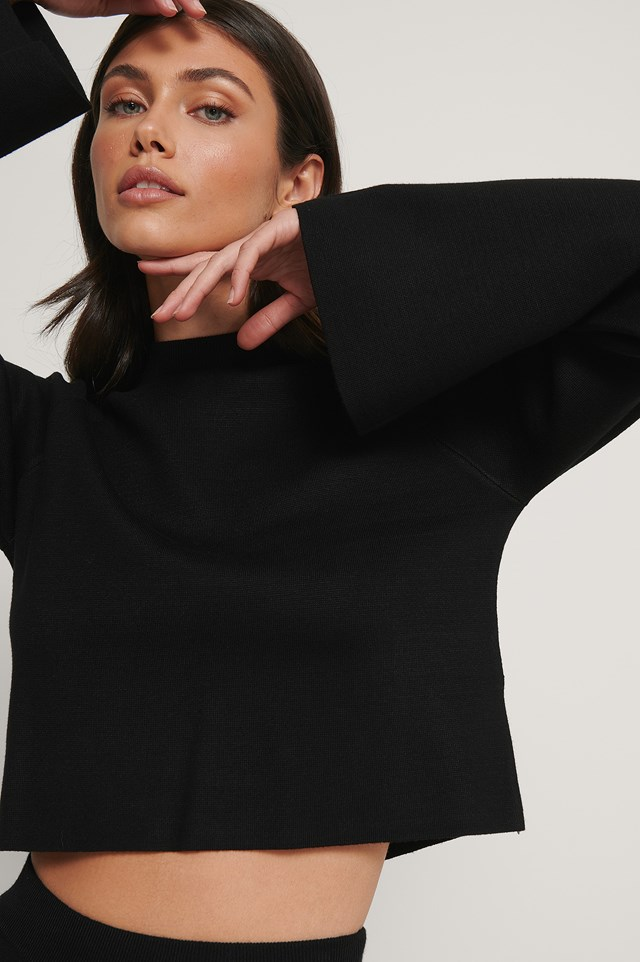 Cropped Lounge Sweater Black