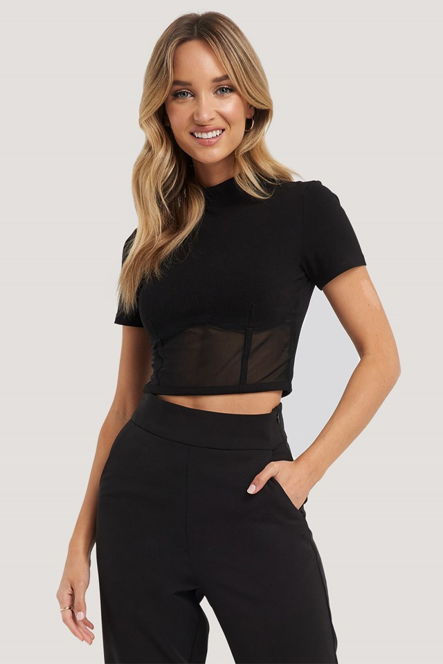 Cropped Mesh Detail Top Black