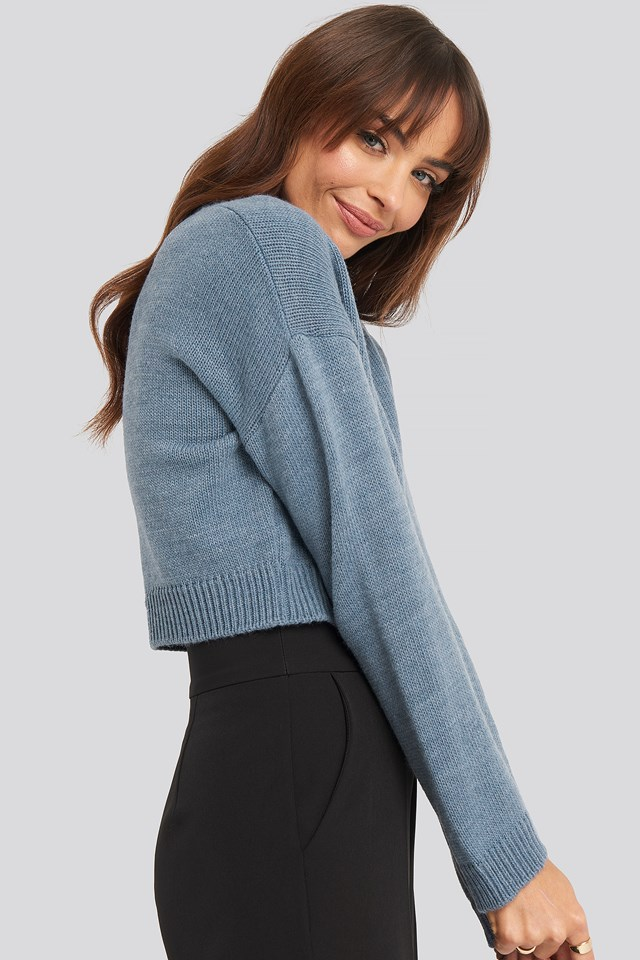 Cropped Round Neck Knitted Sweater NA-KD