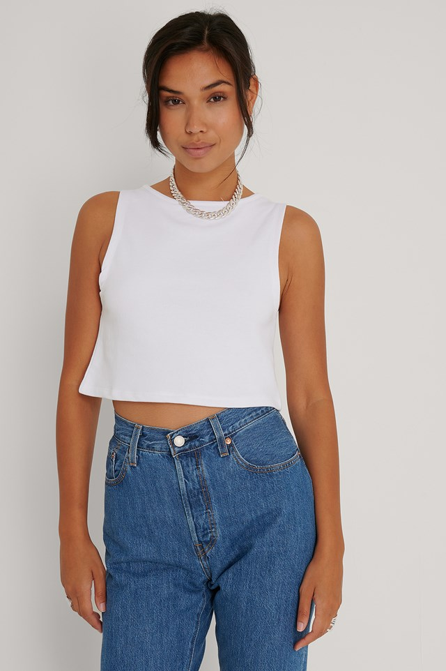 White Cropped Wide Singlet