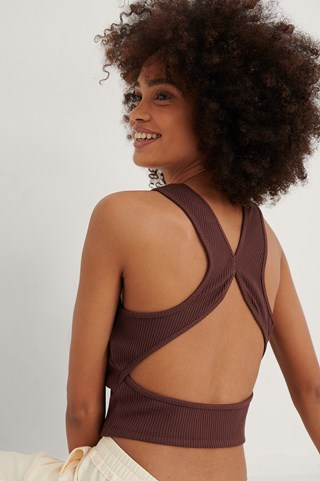 Brown Cross Back Rib Singlet
