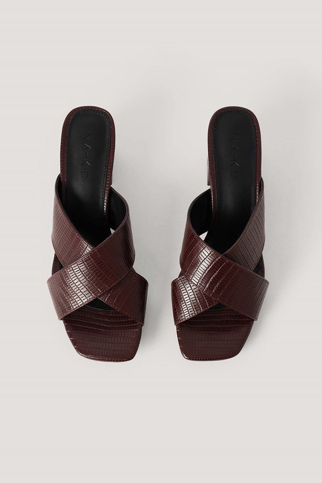 Cross Strap Mules Dark Brown