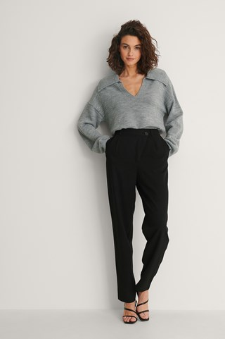 Black Crossed Waist Suit Pants