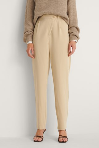 Light Beige Crossed Waist Suit Pants