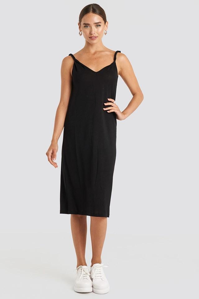 Cupro V-Neck Midi Dress Deep Black