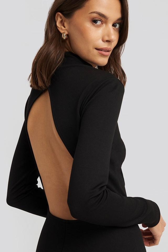 Cut Out Back Long Sleeve Midi Dress Black