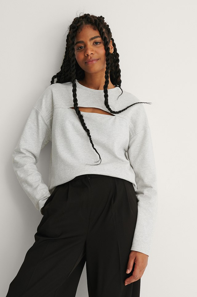 Grey Melange Cut Out Detail Sweatshirt