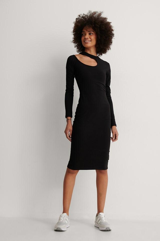Black Cut Out Shoulder Detail Dress