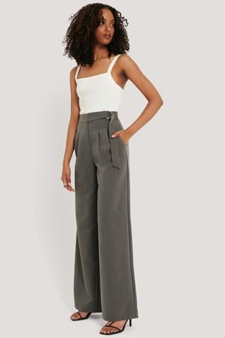 Dark Grey D-ring Belted Suit Pants
