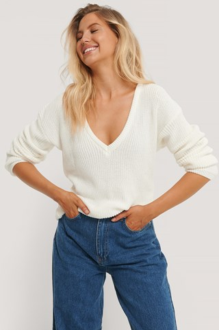White Deep Front V-neck Knitted Sweater