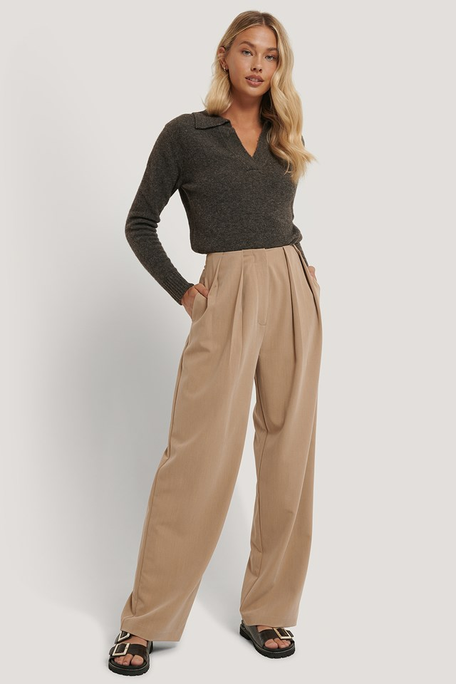 Deep Pleat Suit Pants Beige