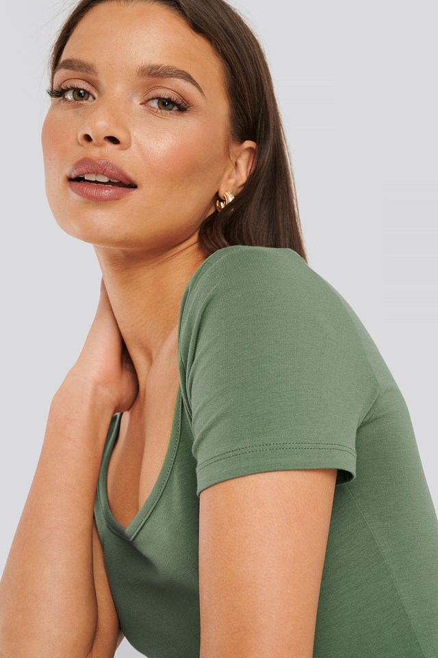 Deep Round Neck Fitted Top Green