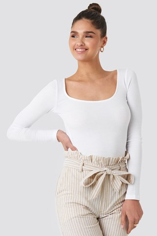 Offwhite Deep Round Neck Ribbed Top