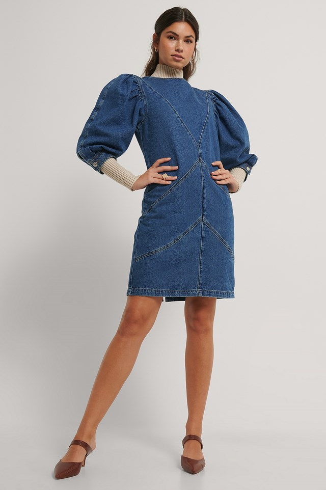 Denim Puff Sleeve Dress Mid Blue