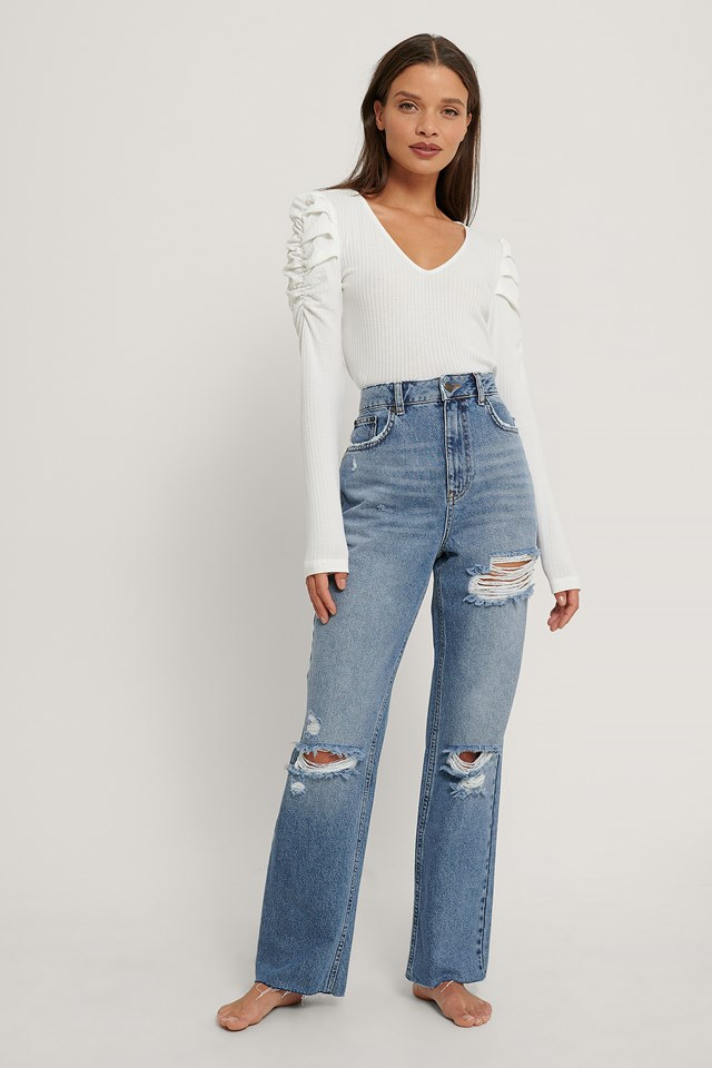 Destroyed Detail High Waist Straight Jeans Mid Blue