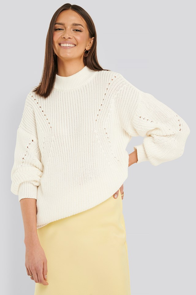 Detail Knitted Oversized Sweater Offwhite
