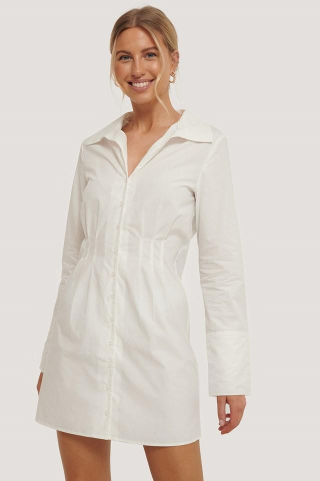 Detailed Shirt Dress White