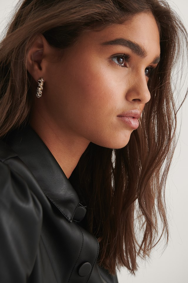 Stone Detailed Sparkling Hoops Gold