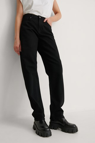 Black Organic Soft Rigid Oversized Long Jeans